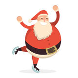 Santa Claus skating and dancing. Cute cartoon cheerful and smili. Ng Father Frost character running on skates. Flat style vector illustration Stock Photography