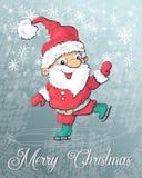 Santa Claus skating on ice. Vector illustration. Hand draw Stock Photo