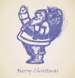Santa Claus Sketch, Christmas design element Stock Photos
