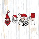 Santa claus sketches on wooden background stock illustration