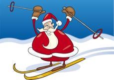 Santa claus on ski Royalty Free Stock Photo