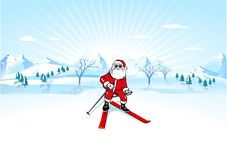 Santa Claus with ski Royalty Free Stock Photography