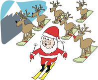 Santa Claus ski cartoon. Cartoon of Santa Claus and reindeer on mountain skiing down slope Royalty Free Stock Image