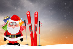 Santa Claus with ski Stock Photos