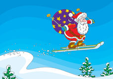 Santa Claus ski jumper Royalty Free Stock Image