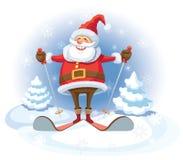 Santa Claus skidåkning Arkivbilder