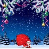 Santa Claus skidar förbi med en röd stor säck Royaltyfria Bilder