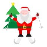 Santa Claus skidar på Arkivfoton