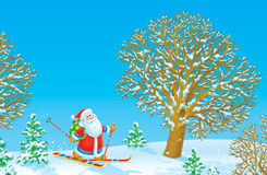 Santa Claus skier Stock Photos