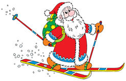 Santa Claus skier. Vector clip-art / Christmas character for your design Royalty Free Stock Images