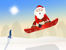 Santa Claus skier on snowboard Stock Image