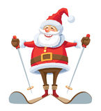 Santa Claus skiing. Smiling Santa Claus skiing, over white background Stock Photography