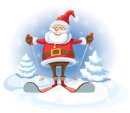 Santa Claus skiing. Smiling Santa Claus skiing, white winter background Stock Images