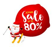 Santa Claus skiing with a big bag and Christmas Sale text. Merry Christmas and happy new year. Illustration isolated on white background stock illustration
