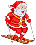 Santa Claus Skiing. Santa Claus is skiing in the snow and he is really enjoying it Stock Photo