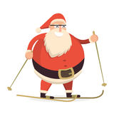 Santa Claus skiing with sticks. Cute cartoon cheerful and smilin. G Father Frost character running. Flat style vector illustration Royalty Free Stock Photos