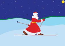 Santa Claus on skis Royalty Free Stock Photography