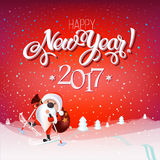 Santa Claus on skis with a bag of gifts, snowy landscape. Christmas card Happy New Year 2017 sign on reg background. Calligraphy text, template. Vector Stock Image