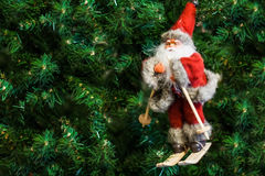 Santa Claus on skis on Christmas tree toy Royalty Free Stock Photography