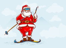Santa claus on skis Royalty Free Stock Photo