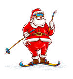 Santa claus on skis Stock Photos