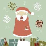 Santa Claus skratta. En serie av julkort. Arkivfoton
