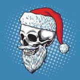 Santa Claus Skull Bearded Illustrazione disegnata a mano di vettore del fumetto Fotografia Stock Libera da Diritti