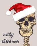 Santa claus skull. Cartoon hand drawn illustration. Vector Royalty Free Stock Photo