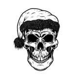 Santa claus skull. Design element for poster. Card, t shirt. Vector illustration Royalty Free Stock Photos