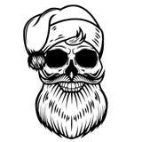Santa Claus skull  on white background. Design element for logo, label, emblem, sign. Vector illustration Stock Image