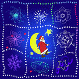 Santa claus in the sky. Christmas night with stars, moon and santa claus Royalty Free Stock Photography