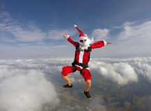 Santa Claus Skydiver. Radical Santa practicing extreme sports Stock Image