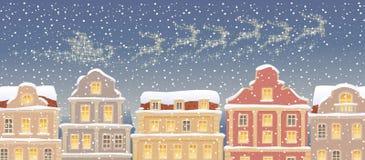 Santa Claus släde vektor illustrationer