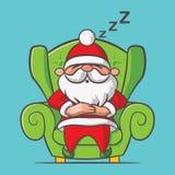 Santa Claus-slaap op leunstoel royalty-vrije illustratie