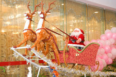 Santa claus & sled & reindeer 1 Stock Photo
