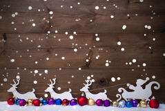 Santa Claus Sled With Reindeer,Snow, Christmas Balls, Snowflakes Stock Photo