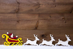 Santa Claus Sled, Reindeer, Snow, Copy Space Stock Photos
