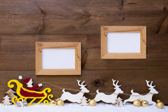 Santa Claus Sled, Reindeer, Snow, Copy Space, Two Frame Royalty Free Stock Images