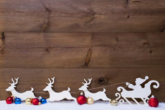 Santa Claus Sled With Reindeers On Snow, Copy Space Royalty Free Stock Photography