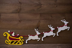 Santa Claus Sled, rena, decoração do Natal, espaço da cópia Fotos de Stock