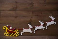 Santa Claus Sled, Rendier, Kerstmisdecoratie, Exemplaarruimte Stock Foto's