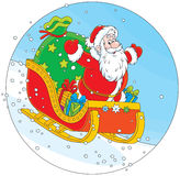Santa Claus sledding with gifts Royalty Free Stock Photography