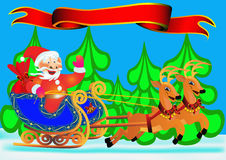 Santa Claus on a sledge Stock Image