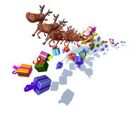 Santa Claus on a sledge. With many gifts Stock Photo