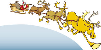 Santa claus on sledge. Illustration of santa claus on sledge with reindeer Stock Image