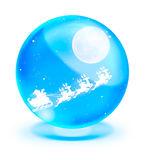 Santa Claus On sledge in crystal ball Royalty Free Stock Photos