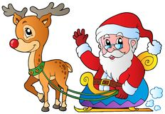 Santa Claus with sledge and deer. Vector illustration Royalty Free Stock Image