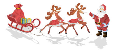 Santa Claus with sledge, deers and Christmas Royalty Free Stock Images
