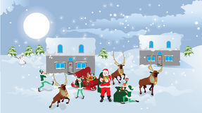 Santa Claus and sledge with presents.. Vector illustration Royalty Free Stock Photography