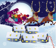 Santa Claus and sledge with presents.. Vector illustration Royalty Free Stock Image